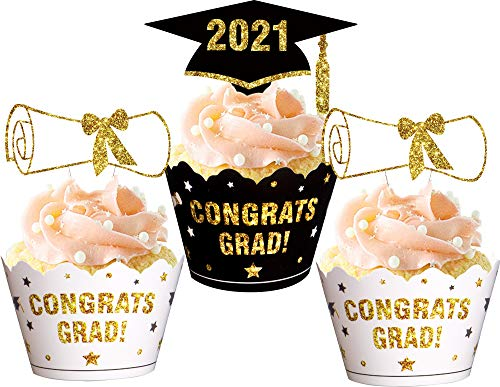 Graduation Cupcake Toppers Wrappers 2018