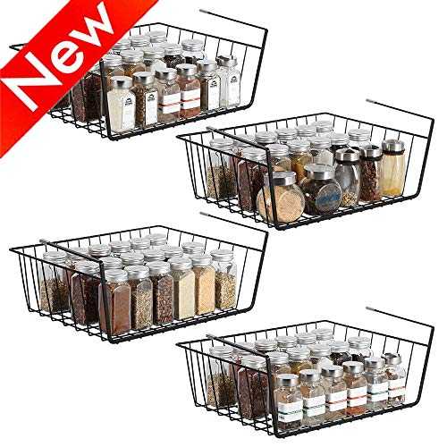Nandae Under Shelf Basket, Wire Rack Slides Under Shelves for Storage, Set of 4 for Bathroom Kitchen Cabinet