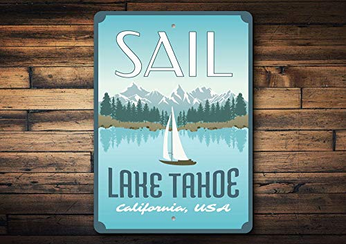 Sail Lake Tahoe Sign, Sail Tahoe Decor, Zeilbord, Lake Tahoe, Zeeman Decor, Sail Boat Sign, Sail Sign, Lake Decoratie, Kwaliteit Metaal