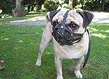 L&J Pets Uk - Museruola per cani in pelle per carlino e altri cani a muso corto, colore nero, M2