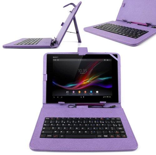 """DURAGADGET Etui 7 Pouces Violet + Clavier intégré AZERTY pour Tablette Auchan Qilive Q4 Android 8"""" 4G et Qilive Q.3004 7"""" + Stylet Tactile Bonus"""