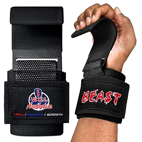 Weight Lifting Hooks - Weight Lifting Straps Deadlift Straps - Lifting Hooks for Powerlifting - Weight Lifting Hooks Grips w/ Wrist Straps for Weight Lifting - Weightlifting Hooks for Men & Women