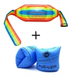 Topsung Inflatable Water Flotation Swim Waist Belt Swimming Vest and Arm Bands Floatation for Adults