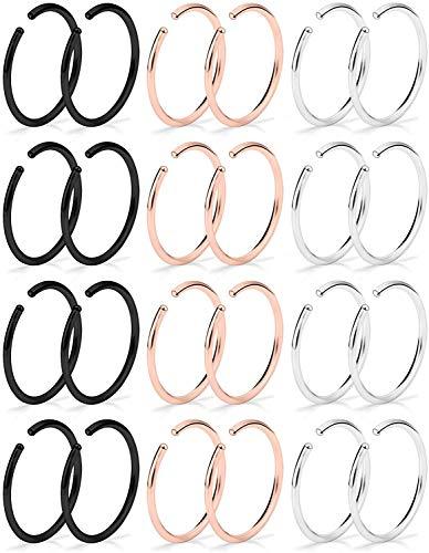 WillTen 24 Piezas 20G Falso Piercing Nariz Acero Quirúrgico Piercing Labio Cartilage Helix Tragus Piercing Joyería para Mujeres Hombres