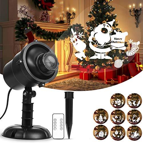 Luces de proyector de Navidad, 360 ° giratorio proyector de iluminación LED decorativo con control remoto RF, iluminación decorativa impermeable al aire libre para la fiesta de Navidad de vacaciones