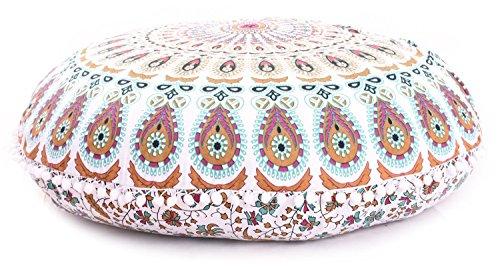 """Shubhlaxmifashion Large 32"""" Pink Manadala Round Pillow Cover"""