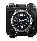 Mens Steampunk Retro Genuine Leather Replaceable Watch Military Japan Quartz Hip-hop Gothic Wide Bracelet Cuff Big Black Dial Sport Wrist Watches