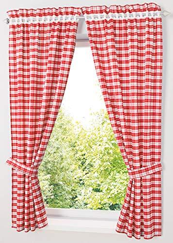 Yaland Blickdichter Vorhänge mit Karo-Muster Landhaus Gardinen Wohnzimmer Gardinenschals mit Raffhalter (BxH 80x120cm, rot) 2 Stück