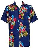 Hawaiian Shirts for Mens Allover Parrot Camp Party Aloha Holiday Beach Short Sleeve