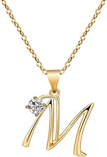 Large Initial Necklaces 14K Gold,Initial Necklace for Teen Girls,Big Letter Necklace for Women 26 A-Z