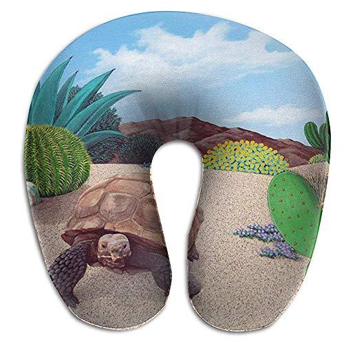 NAN TIAO Atmungsaktives Nackenkissen Desert Tortoise Snake Cactus Reiseflugzeugkissen, Ultra Cosy U-förmiges Nackenkissen für Schlaf und Mittagsschlaf S