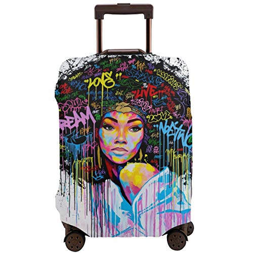 NELife Travel Suitcase Protector African American Girl Elastic Protective Washable Luggage Cover with Concealed Zipper Suitable for 18-32 Inch -S