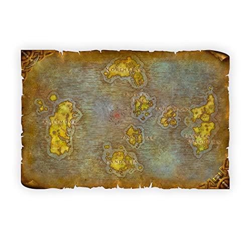 Battle for Azeroth | Mappa | Tela | Pergamena | WallArt | TableTop | Regalo | Azeroth | Stampa UV (91,4 x 61 cm)