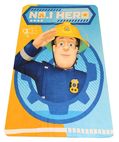Fireman Sam Fleece Blanket Pompier Sam No. 1 héros, Oeko Tex Standard 100, 100 x 150 cm, pour Enfants