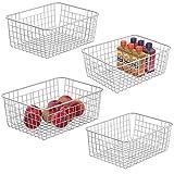 Wire Storage Basket iSPECLE 4 Pack Metal Wire Basket Sturdiness Food Storage Freezer Baskets Organizer Bins...