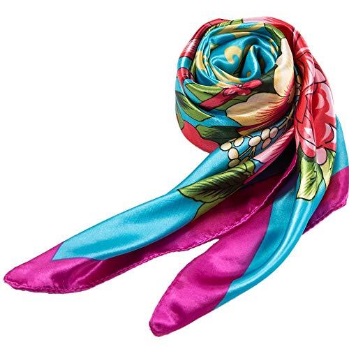 Alberto Cabale Seidenschal Damenmode leicht weich kuschelig Sonnenschutz stretchy Schal Wrap für Kopf & Nacken Blue Sky