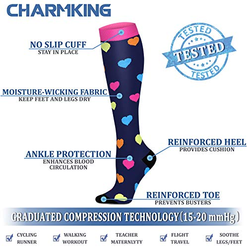 CHARMKING Compression Socks for Women & Men Circulation 15-20 mmHg is Best Graduated Athletic for Running, Flight Travel, Support, Pregnant, Cycling - Boost Performance, Durability (S/M, Multi 06)
