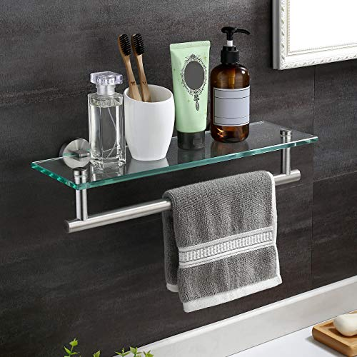 KES Estante de cristal templado de 40,6 cm, estante flotante de cristal para pared de baño con toallero SUS304, estante de ducha de acero inoxidable, acero cepillado, A2022-2