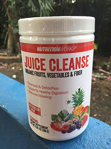 Nutritionworks Juice Cleanse Organic Fruits , Vegetables & Fiber ( Watermelon Flavor ) Cleanses and Detoxifies / Supports Healthy Digestion / Reduces Bloating