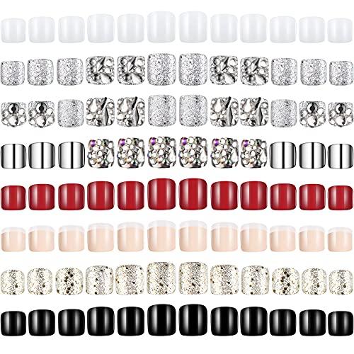 192 Piezas 8 Juegos Uñas Postizas de Pies Uñas Artificiales de Pies Kit de Puntas de Uñas Falsas de Cubierta Completa de 12 Tamaños para Decoración DIY de Salón de Uñas (Patrón Encantador)