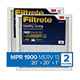 Filtrete 20x20x1, AC Furnace Air Filter, MPR 1900, Healthy Living Ultimate Allergen, 2-Pack (exact dimensions 19.69 x 19.69 x 0.78)