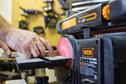 """WEN 6502T 4.3-Amp 4"""" x 36"""" Belt and 6"""" Disc Sander with Cast Iron Base"""