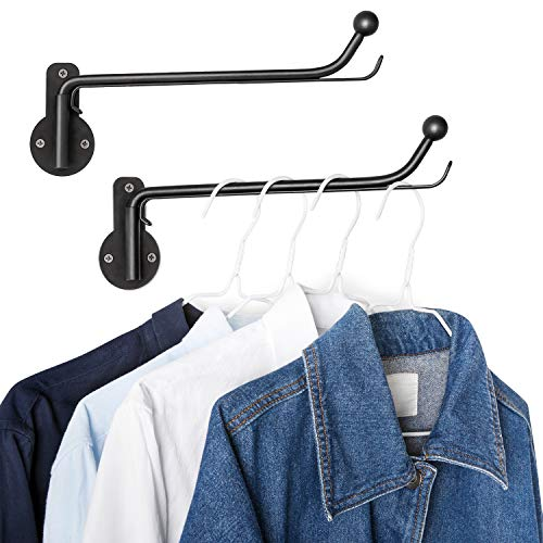Mkono Wall Mounted Clothes Hanger with Swing Arm Holder Valet Hook Metal Hanging Drying Rack Space Saver for Closet Organizer Bathroom Bedroom Laundry Room 2 Pack Black
