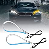 Qiilu 60cm Flexible Bombillas de Coches Cortable LED luz tubo doble color Luz de correr Luz de intermitente Universal
