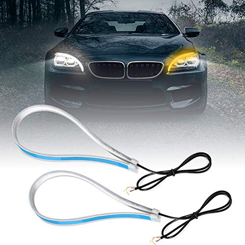 Luces de Circulación Diurna 60cm,Qiilu 2 Piezas Flexible Bombillas de Coches Cortable LED luz tubo doble color Luz de correr Luz de intermitente Universal