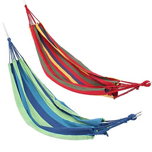 HULDORO Zweifacher großen Schwingen-Hängematte Leinwand Tenting Hang Bett Garten Travel Strand Außen Stuhl Reisenhammock (Color : Blue)