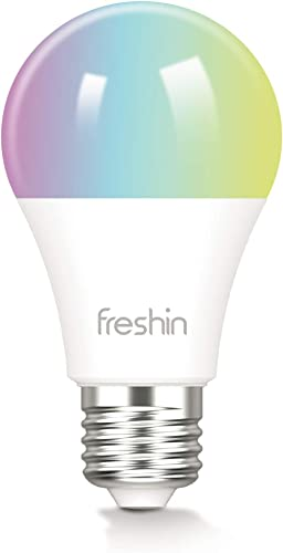 Smart Light Bulbs FRESHIN E27 A60 9W RGBCW WiFi Light Bulb, Dimmable Led Light, 2.4GHz Only, Compatible with Alexa ,G...