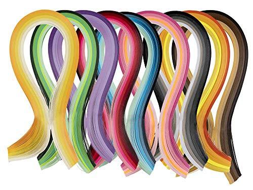 Papier Quilling Sets,Quilling-Papierstreifen 900 Streifen Quilling Papier 3 mm Breite 45 cm Länge Papier mit Papier Craft Precision Tip Kleber Applikator Flasche