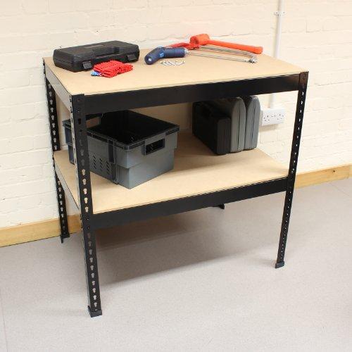 Hardcastle 90cm Steel Work Bench with 2 Shelves - Black