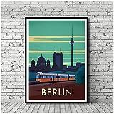 Vintage Travel Poster Berlin City Map Poster Poster Art Poster Print Canvas Decoración para el hogar Picture Artwork decoration -50x70cm Sin marco