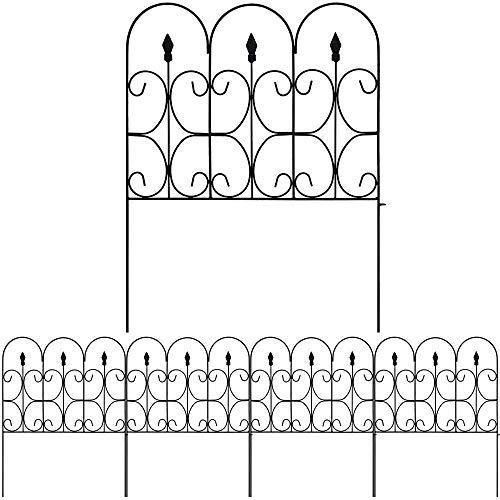 Amagabeli Garden Home 81CM X 61CM X 10 Stück Gartenzaun Metall Zaunelementen Gartenzäune Dekorative Zaun Gartenzaun Klein Metall
