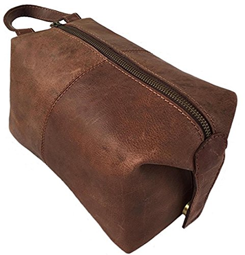 KK's Genuine Leather Leather Cosmetic Bag, for Travel Bags ~ Gift for Men and Women ~ for hanging up Zippered Leather Make Up Bags