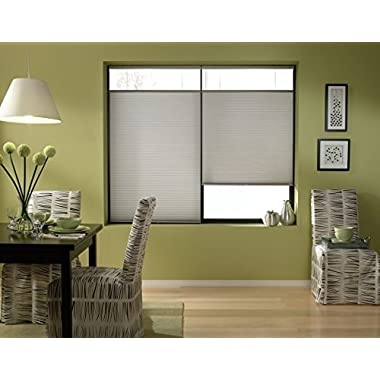 Cordless Top Down Bottom Up Cellular Honeycomb Shades, 36W x 48H, Cool Silver, Any Size 19-72 Wide