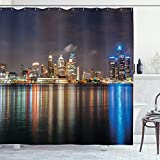 Ambesonne Detroit Shower Curtain, Modern Metropolis Cityscape at Night Time Detroit River with Colorful Reflection, Cloth Fabric Bathroom Decor Set with Hooks, 70' Long, Night Blue