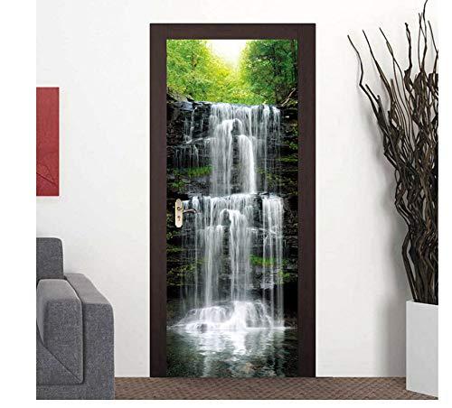 Forlingnight Tür Folie,Türaufkleber Wasserfall Natur Landschaft 3D Fototapete wasserdichte Tür Tapete Selbstklebende Wandtattoos Dekoration 90x200cm