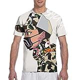 Mens Crewneck Shirt, Anime Camo Shark Teeth Art Short Sleeve Sportswear for Holiday Riding Workout, 3D Print Regular Big and Tall Sizes Tees, Casual Soft Athletic Henley Shirt