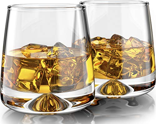 Premium Whiskey Glasses - Large - 11oz Set of 2 - Lead Free Hand Blown Crystal - Thick Weighted Base - Seamless Design - Perfect for Scotch, Bourbon, Manhattans, Old Fashioned, Cocktails.