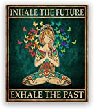 GKZJ Toile Mur Art Hippie Yoga Fille méditation Affiche Inspirer expirer Impression Yoga Chambre Mur Art Photo Fille Fitness Cadeau Salle de Gym décor 30x50cm Pas de Cadre