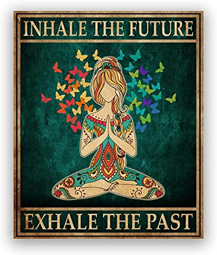 Impresiones para Paredes Hippie Yoga Girl Meditación Poster Inhale Exhale Print Yoga Room Wall Art Picture Girl Fitness Gift Gym Decor 50x70cm sin Marco