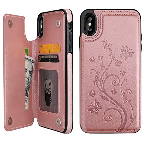 """Vaburs iPhone Xs Max Wallet Case with Card Holder, Embossed Butterfly Premium PU Leather Double Magnetic Buttons Flip Shockproof Protective Case Cover for iPhone Xs Max (6.5"""", Rose Gold)"""