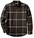 Amazon Essentials Men's Regular-Fit Long-Sleeve Flannel Shirt, Brown Plaid, Large