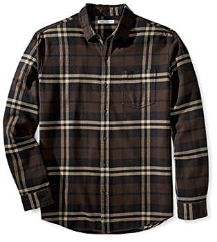 Amazon Essentials Men s Regular-Fit Long-Sleeve Flannel Shirt_dnu Brown Plaid Large