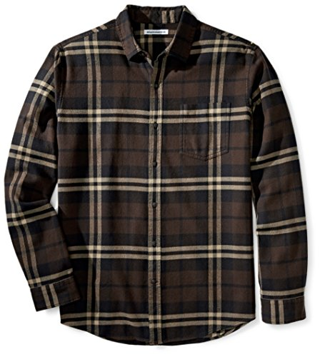 Amazon Essentials - Camisa de franela a cuadros de manga larga y ajuste regular para hombre, Marrón (Brown Plaid), US L (EU L)