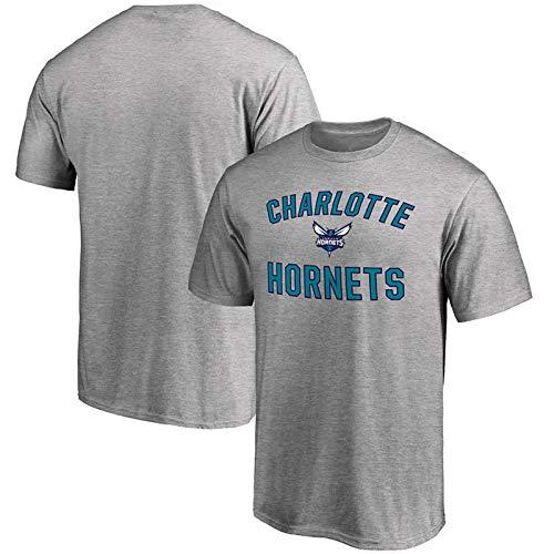 JNTM Maglia da Basket NBA Uomo Maglia Charlotte Hornets T-Shirt Maniche Lunghe Abbigliamento per Felpa da Bambino S-XXXL Grey-M