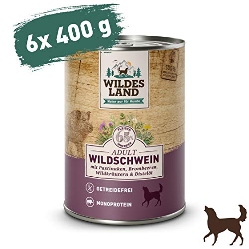 Wildes Land | Adult Wildschwein | 6 x 400 g | Nassfutter | Hundefutter