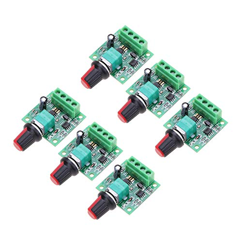 Onyehn 6Pcs 1.8v 3v 5v 6v 7.2v 12v 2A 30W Low Voltage DC Motor Speed Controller PWM 1803BK 1803B Adjustable Driver Switch 6 Pack